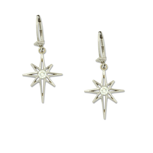North Star Diamond earrings 14K White gold diamonds lever back