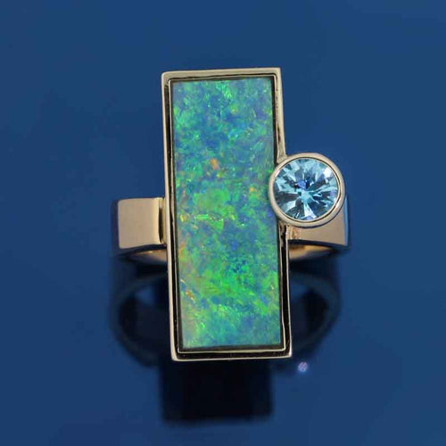 Opal Inlay Blue Topaz Ring - 14K TT gold