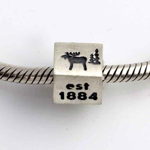 park city bracelet bead 4 4 sided in sterling silver