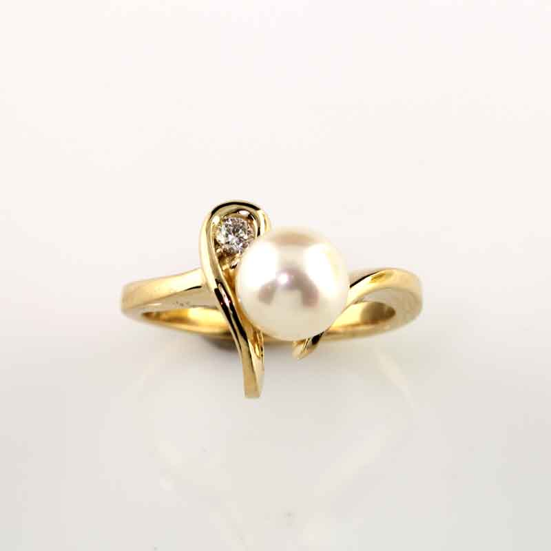 fresh water pearl diamond ring 14K YG