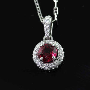 Diamond Red Spinel Pendant Necklace 14K WG