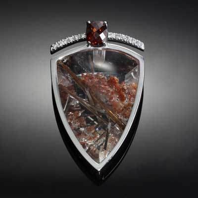 Rutile quartz pendant with zircon and diamond - 14K WG