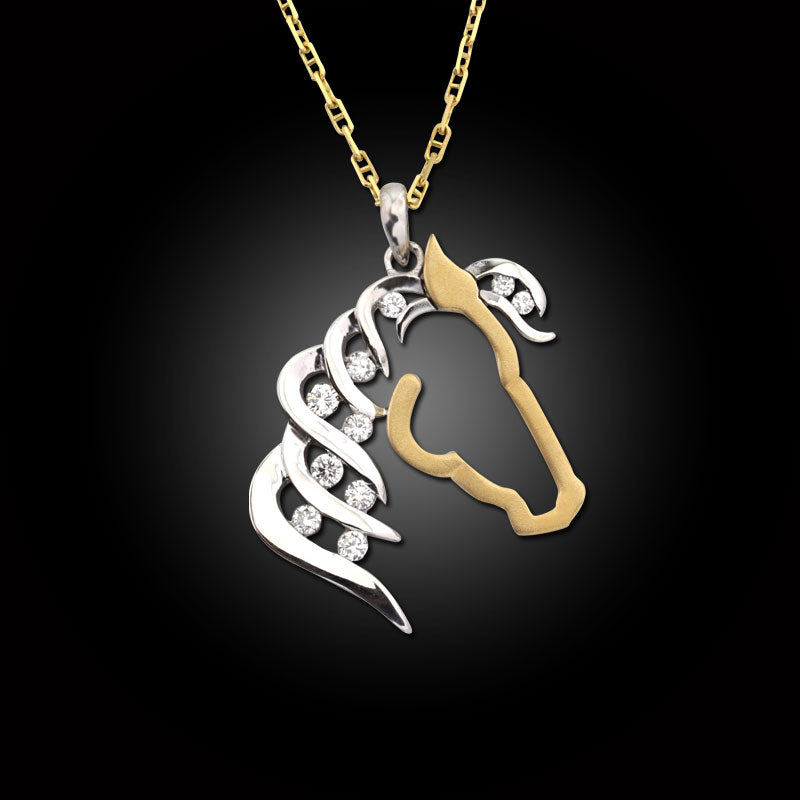 Silhouette Diamond Horse Pendant - 14K TT gold diamonds