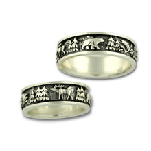 Load image into Gallery viewer, Silver Wild life ring moose elk fish  bear sterling silver