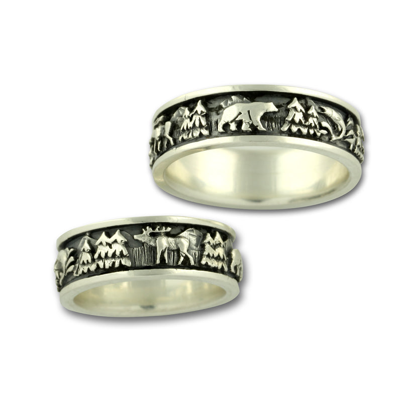 Silver Wild life ring moose elk fish  bear sterling silver