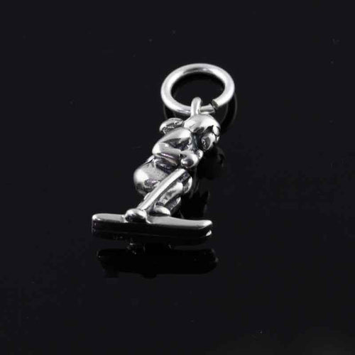 Lady skier charm - sterling silver