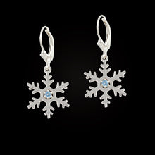 Load image into Gallery viewer, Topaz snowflake earrings sterling silver with blue topaz leverback