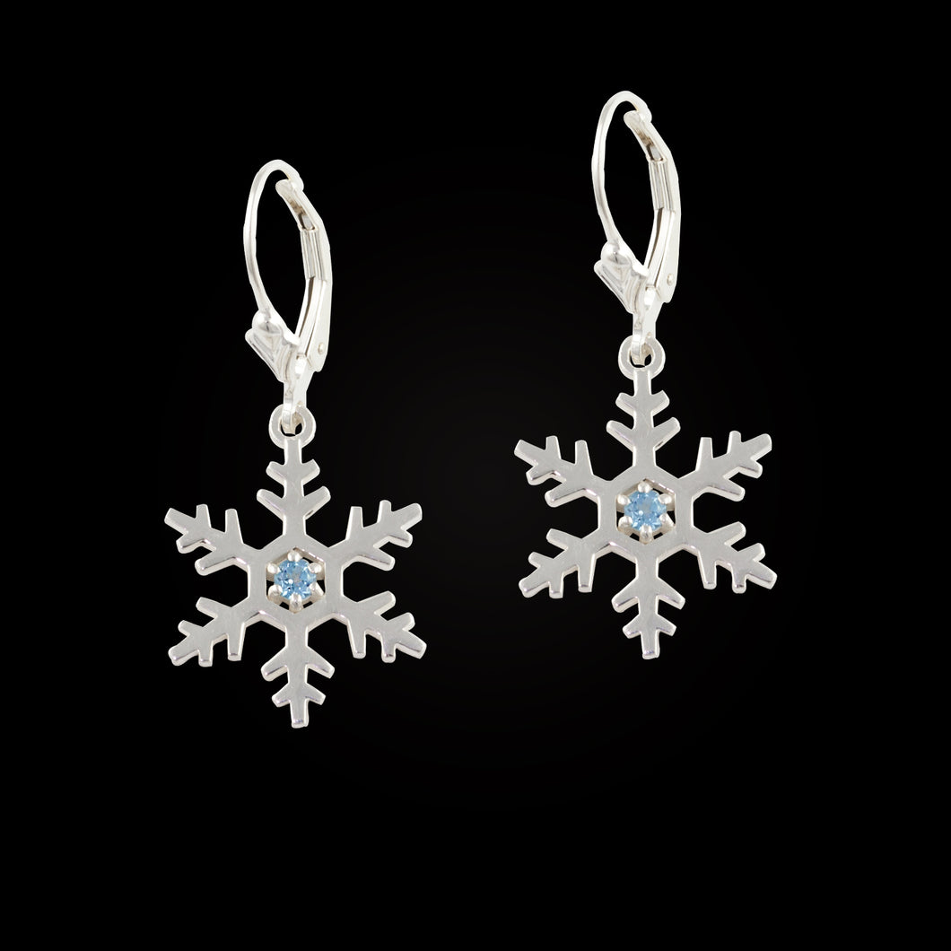 Topaz snowflake earrings sterling silver with blue topaz leverback