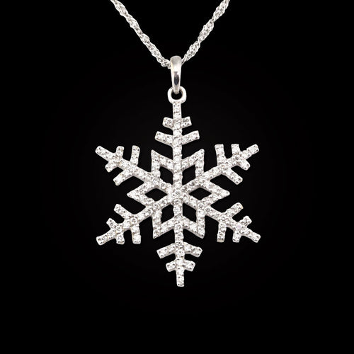 pave diamond snowflake half carat 14K WG diamonds - 14K WG