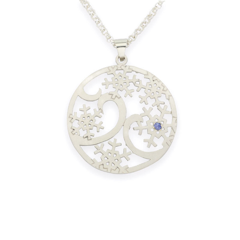 snowflake pendant snow flurry pendant sterling silver sapphires