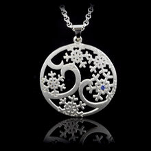 Load image into Gallery viewer, Domed Snowflake Flurry Pendant - sterling silver sapphires