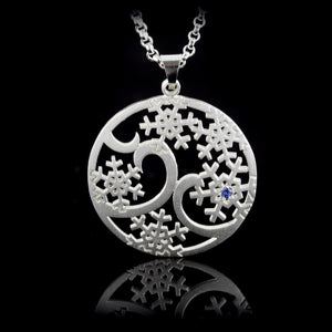 Domed Snowflake Flurry Pendant - sterling silver sapphires