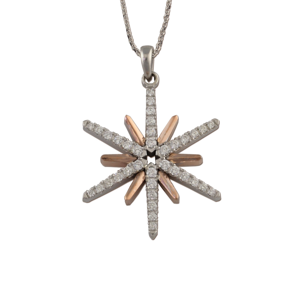 14K white and rose gold star necklace with diamonds - diamond star pendant star jewelry sky jewelry