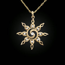 Load image into Gallery viewer, gold and diamond spiral sun necklace sun jewelry