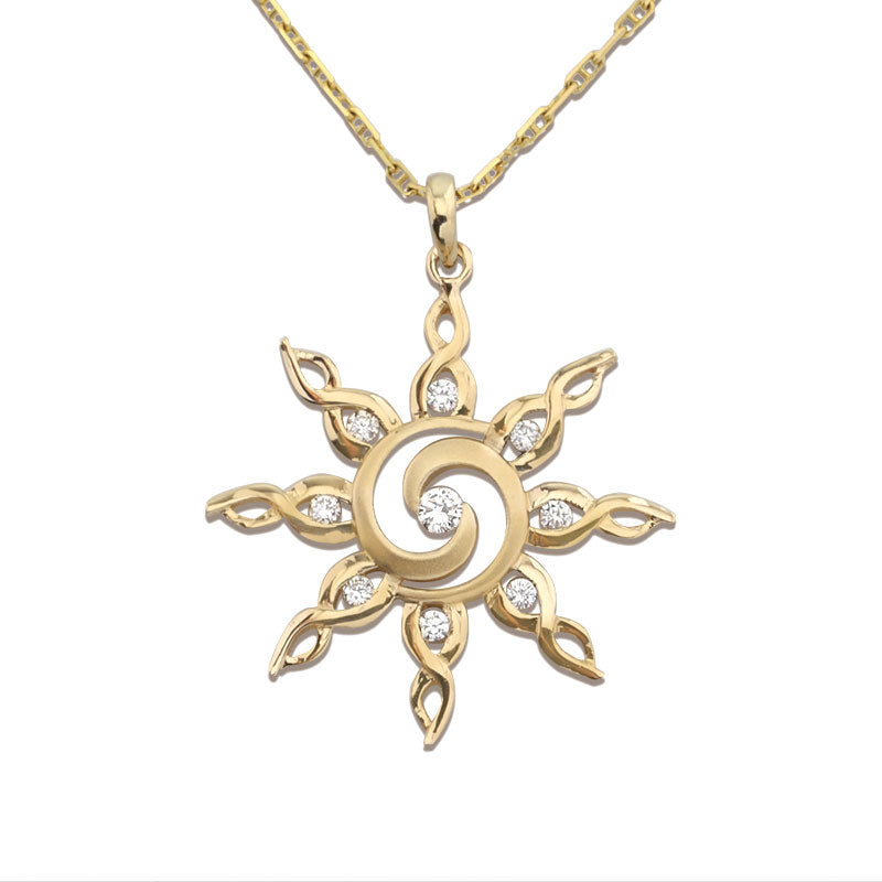 gold and diamond spiral sun necklace sun jewelry