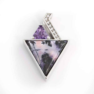 Tiffany stone inlay pendant with amethyst and diamond in 14K WG