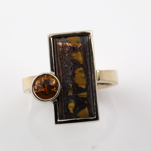 Citrine Ring with Tiger Iron Inlay - 14K TT Gold