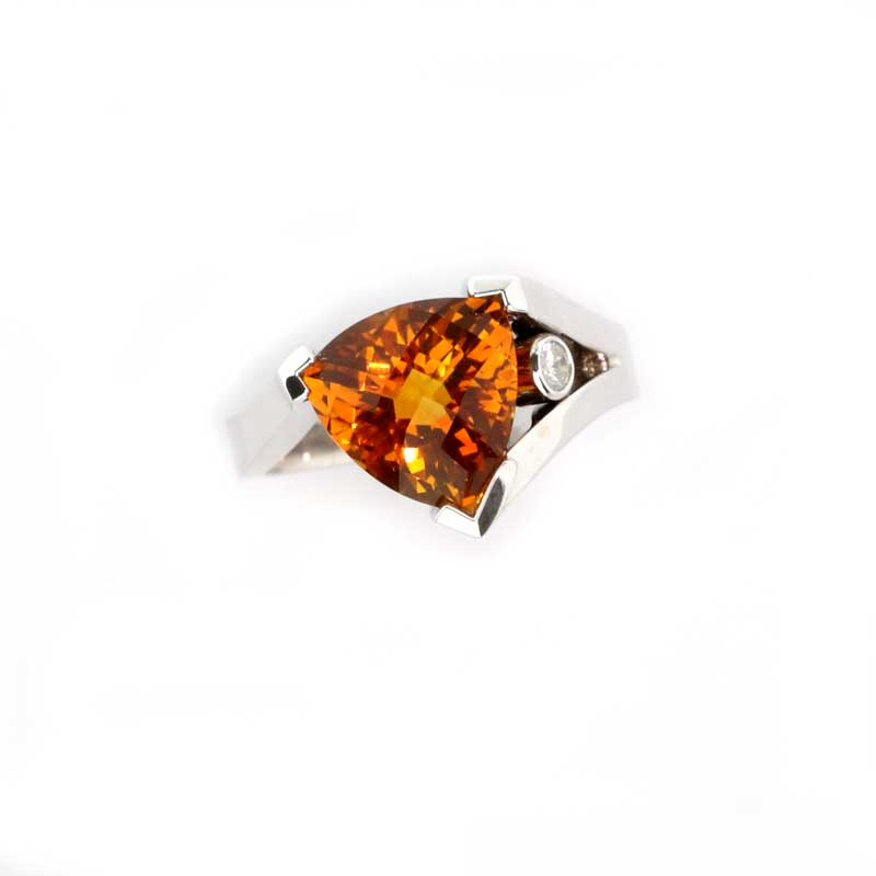Citrine Trillion Ring with diamond 14K WG