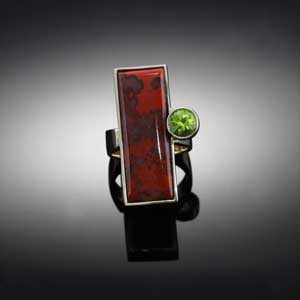 agate inlay ring with peridot 14K white yellow gold