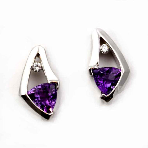 amethyst trillion and diamond stud earrings 14K WG