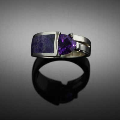 Amethyst Sugalite Inlay Ring - 14k WG