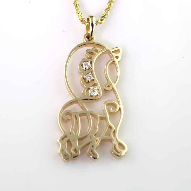 Barb's Free Style Horse Pendant Necklace - 14K YG Diamonds or Peridot