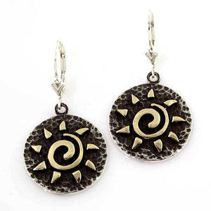 Sun Spiral earrings silver disk gold spirals