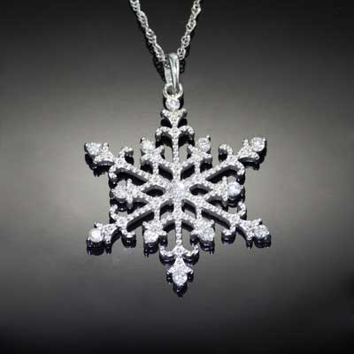 Beaded Diamond Snowflake Pendant 14K WG Diamonds