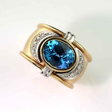 Load image into Gallery viewer, diamond blue topaz antique ring in 14K TT gold
