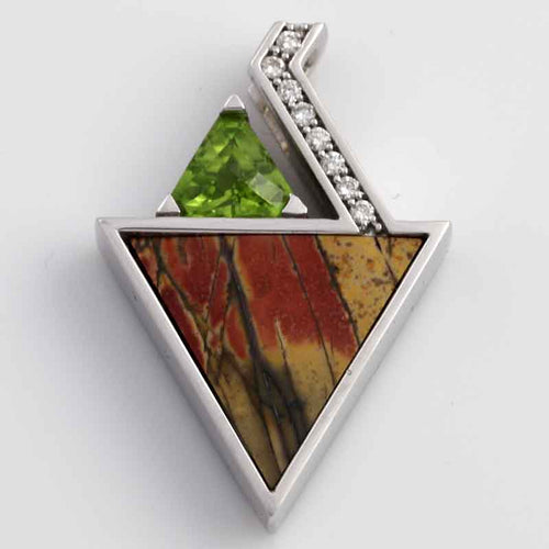 Cherry creek jasper inlay pendant with peridot and diamonds