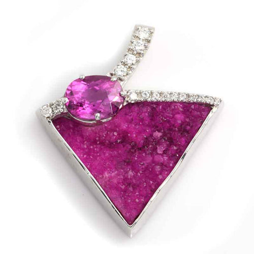 Cobaltocalcite Pink Tourmaline and Diamond Pendant - 14K WG