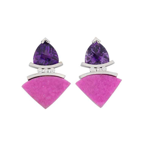 Pink Cobaltocalcite Amethyst Earrings