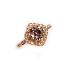 natural colored diamond ring with side diamonds in 14K rose gold