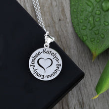 Load image into Gallery viewer, Mother's name necklace with heart family necklace with children's names