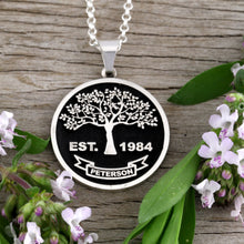 Load image into Gallery viewer, Family Tree Necklace - Full - Embossed - SS
