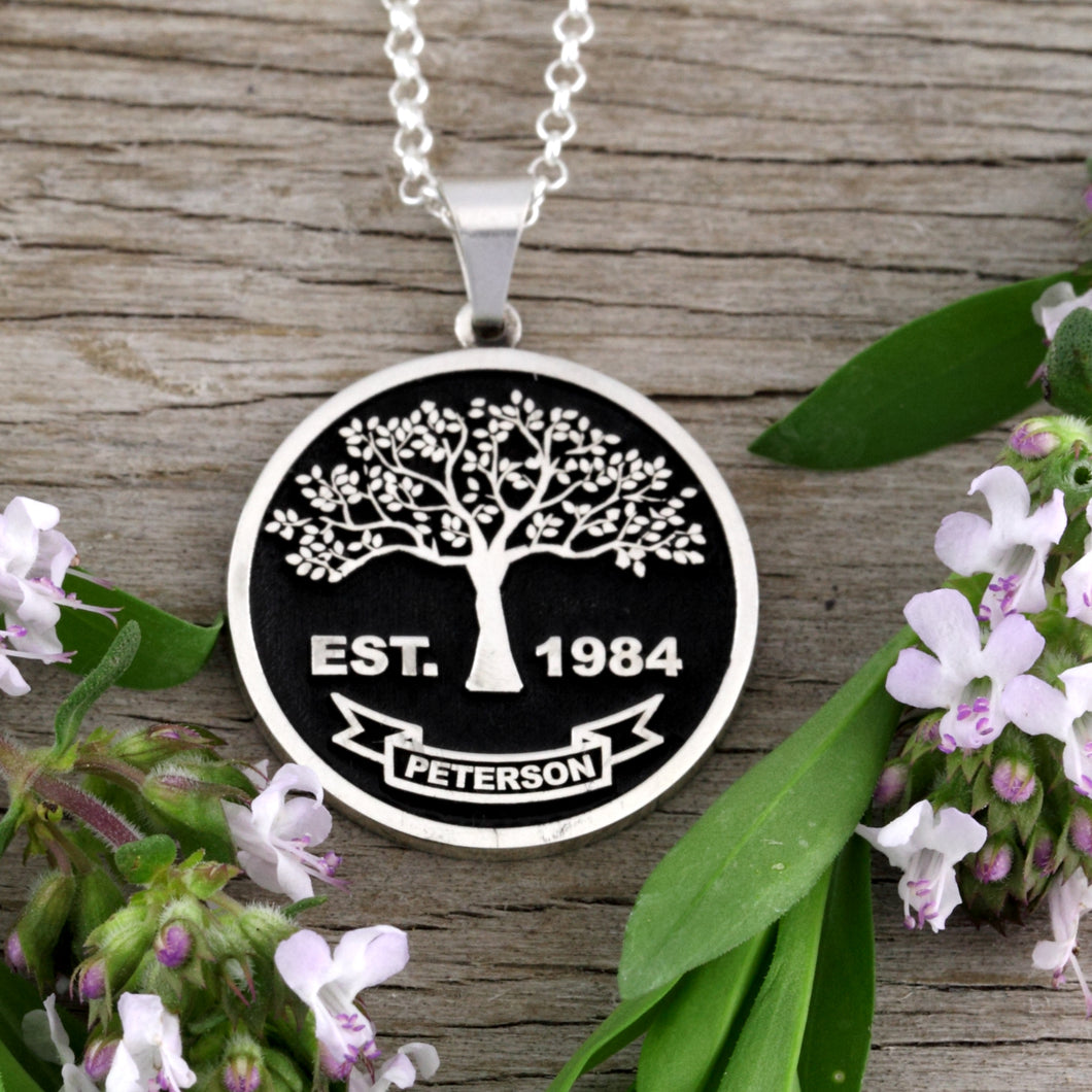 Family Tree Necklace - Full - Embossed - SS
