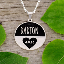 Load image into Gallery viewer, Wedding Anniversary Necklace with family surname and wedding date