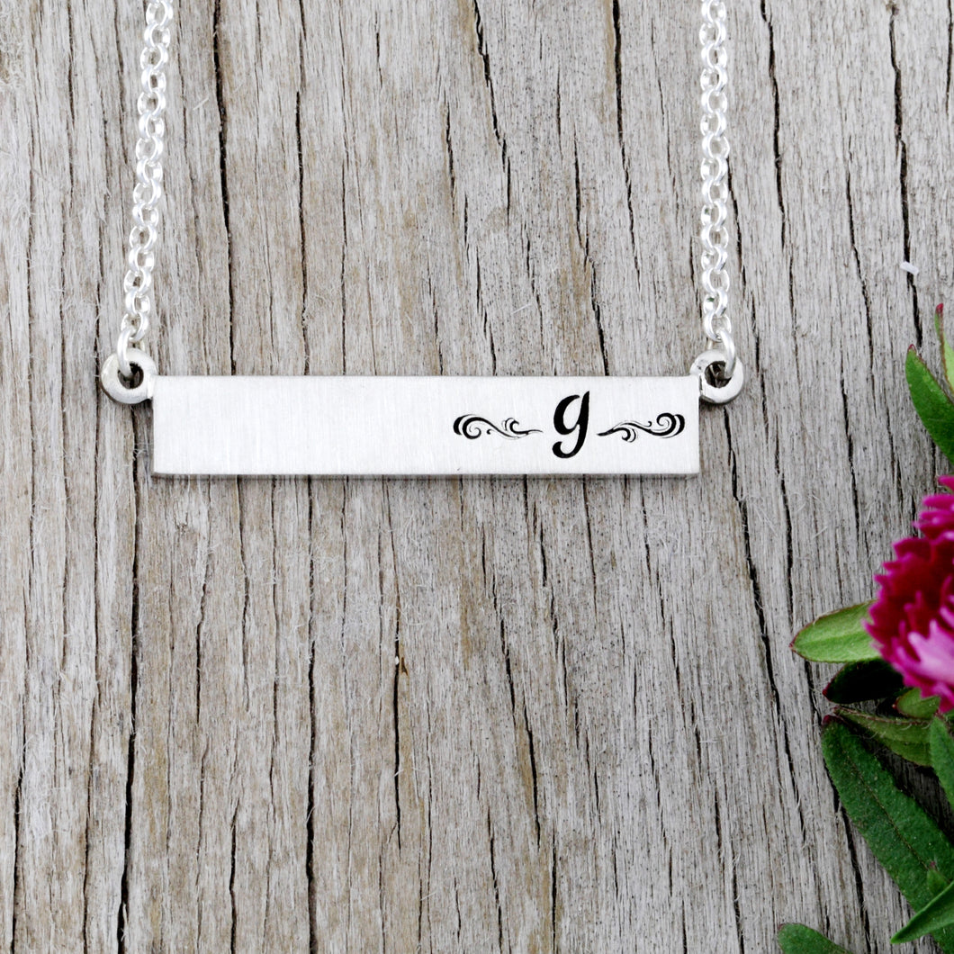 Initial Bar Necklace initial jewelry