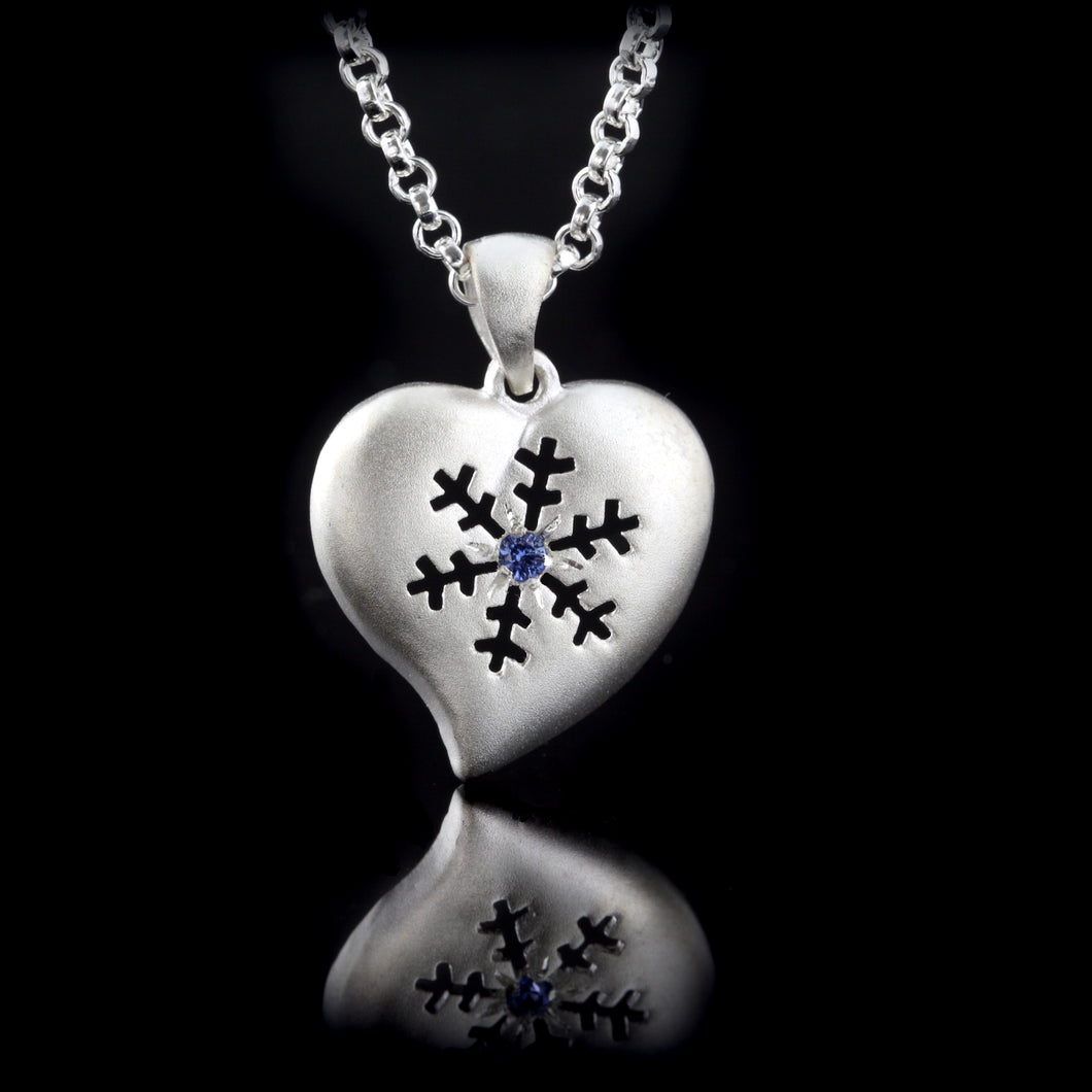 heart snowflake pendant sterling silver sapphire