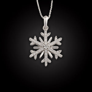Diamond snowflake necklace 14K white gold with .27 ctw diamonds on adjustable 14K wg chain