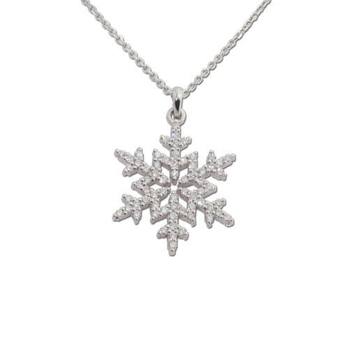 Pave Snowflake Necklace .25 ctw diamonds 14K WG