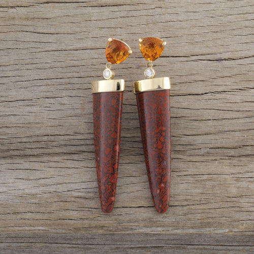 dinosaur bone citrine diamond earrings 14K yellow gold