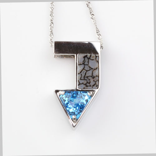 Blue Topaz Dinosaur Bone Inlay Pendant in 14K WG