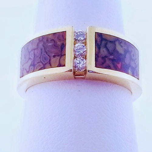 Dinosaur Bone Inlay Ring with Diamonds - 14K YG