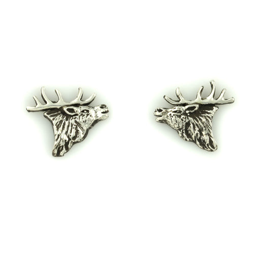 Elk Head Earrings - Sterling Silver