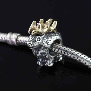 elk bracelet bead charm sterling silver 10K Yellow gold