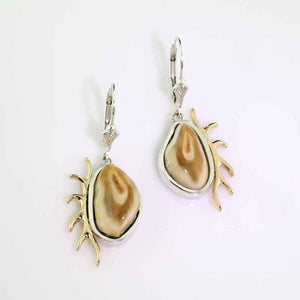 Elk Tooth Earrings - Sterling Silver 10K YG
