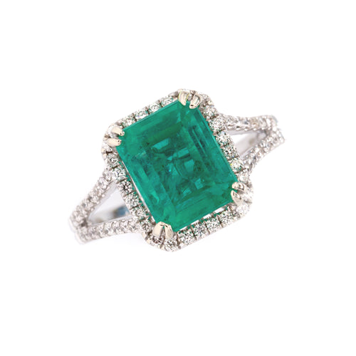 Emerald Diamond Ring in 14K White Gold