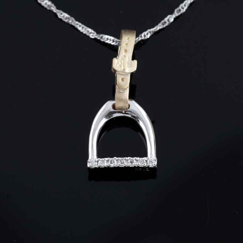 Horse Stirrup Pendant - English Leather and Stirrups - 14K TT gold Diamond