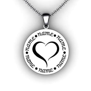 Mother's name necklace with heart family necklace with children's names
